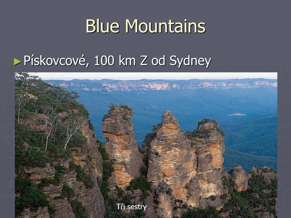 Blue Mountains Pískovcové, 100 km Z od Sydney Tři sestry