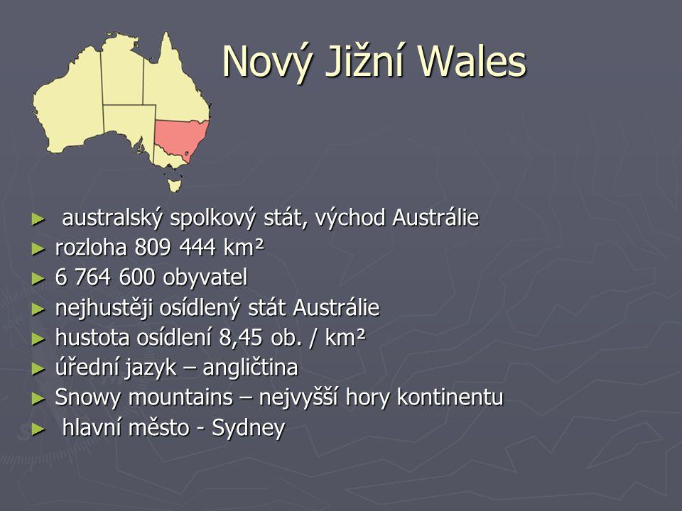Nový Jižní Wales australský spolkový stát, východ Austrálie