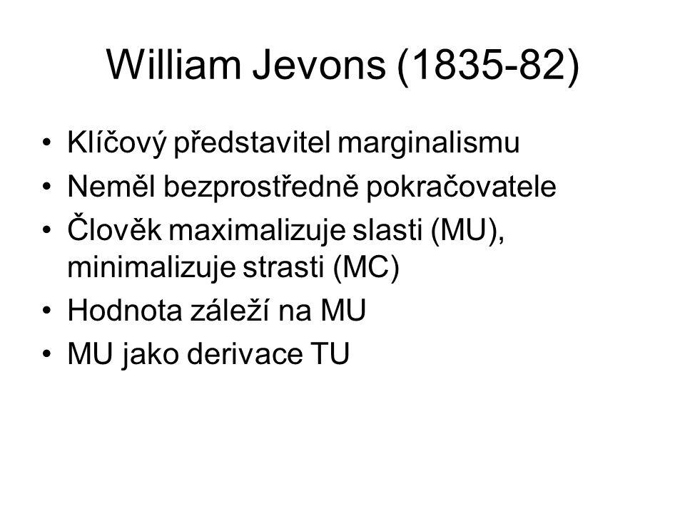 William Jevons (1835-82) Klíčový představitel marginalismu