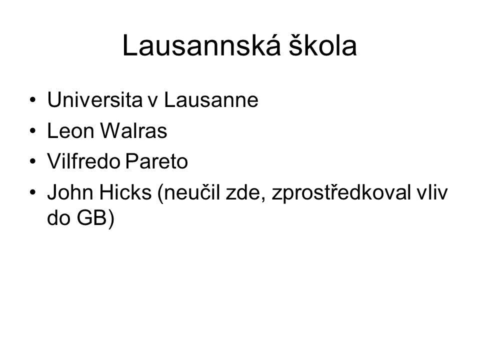 Lausannská škola Universita v Lausanne Leon Walras Vilfredo Pareto