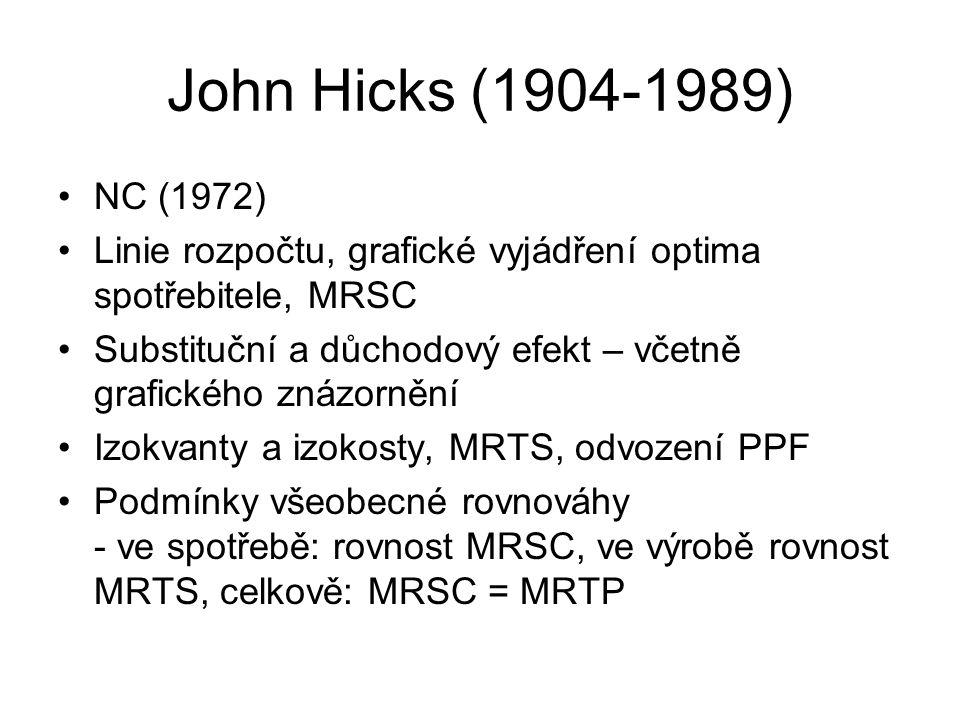 John Hicks (1904-1989) NC (1972) Linie rozpočtu, grafické vyjádření optima spotřebitele, MRSC.