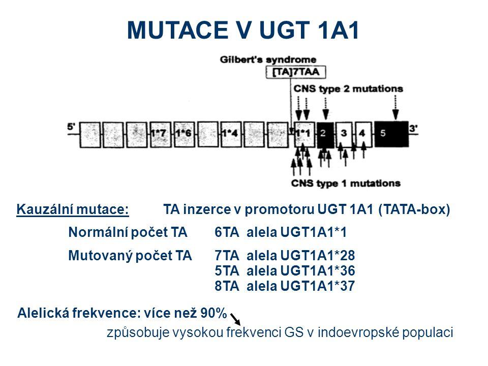 MUTACE V UGT 1A1 Kauzální mutace: TA inzerce v promotoru UGT 1A1 (TATA-box) Normální počet TA 6TA alela UGT1A1*1.