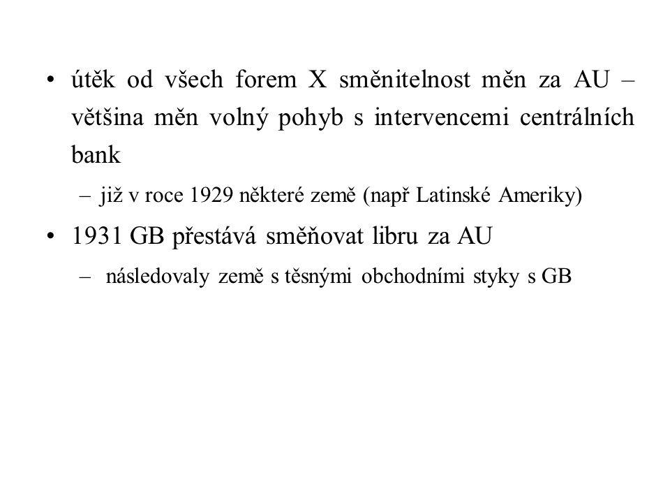 1931 GB přestává směňovat libru za AU
