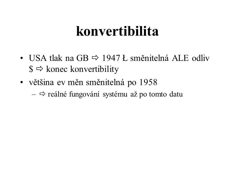 konvertibilita USA tlak na GB  1947 Ł směnitelná ALE odliv $  konec konvertibility. většina ev měn směnitelná po 1958.