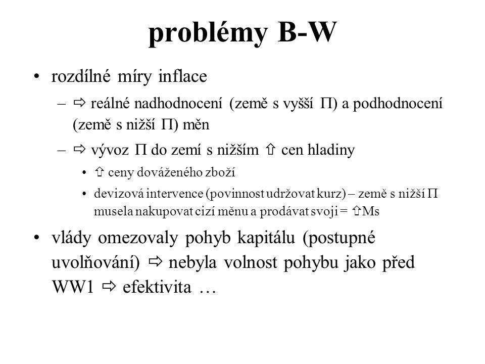 problémy B-W rozdílné míry inflace