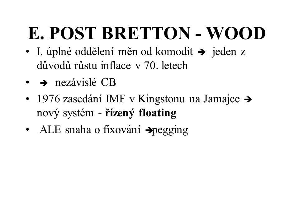 E. POST BRETTON - WOOD I. úplné oddělení měn od komodit è jeden z důvodů růstu inflace v 70. letech.