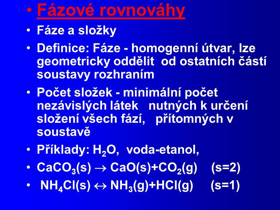 Fázové rovnováhy Fáze a složky