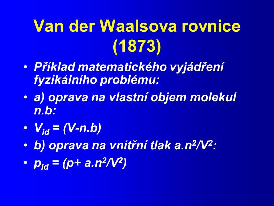 Van der Waalsova rovnice (1873)