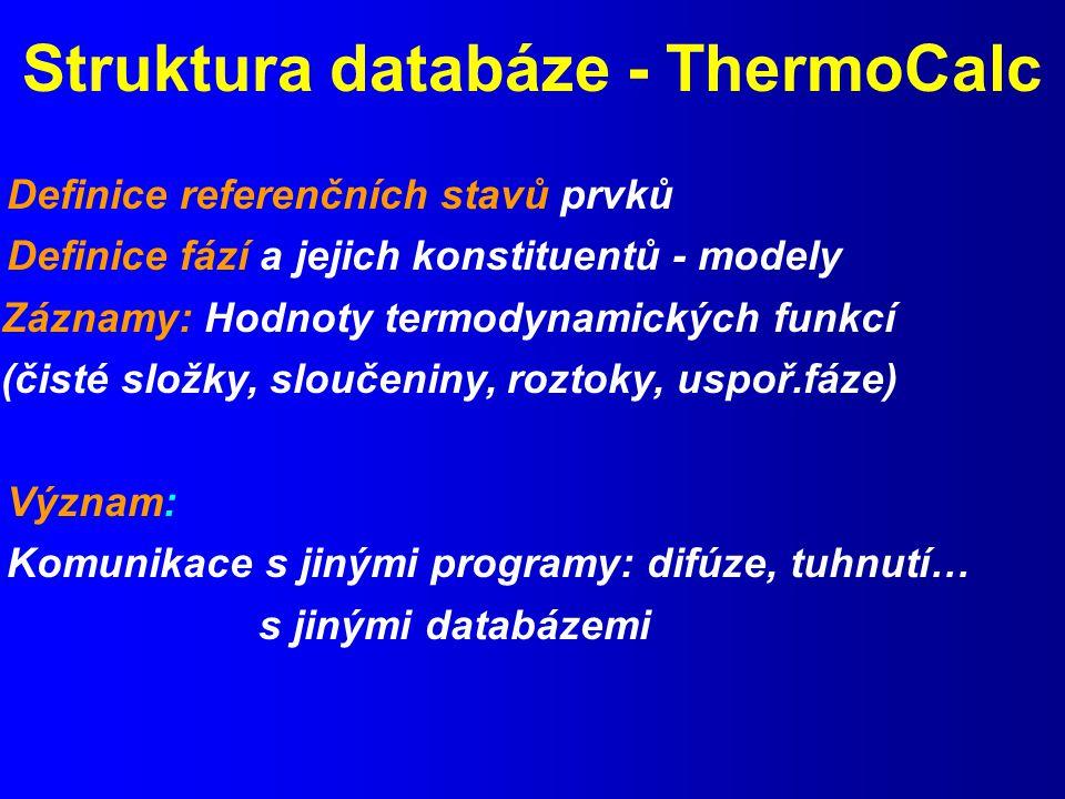 Struktura databáze - ThermoCalc