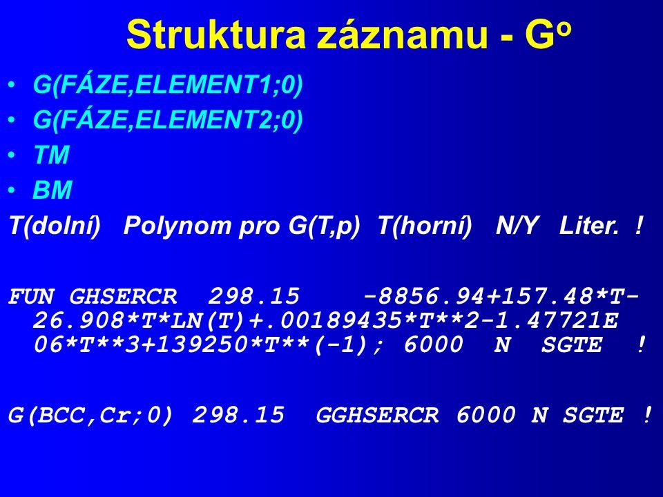 Struktura záznamu - Go G(FÁZE,ELEMENT1;0) G(FÁZE,ELEMENT2;0) TM BM
