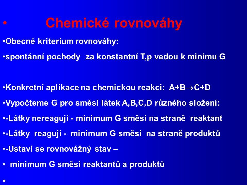 Chemické rovnováhy Obecné kriterium rovnováhy: