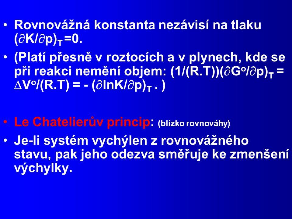 Rovnovážná konstanta nezávisí na tlaku (K/p)T =0.
