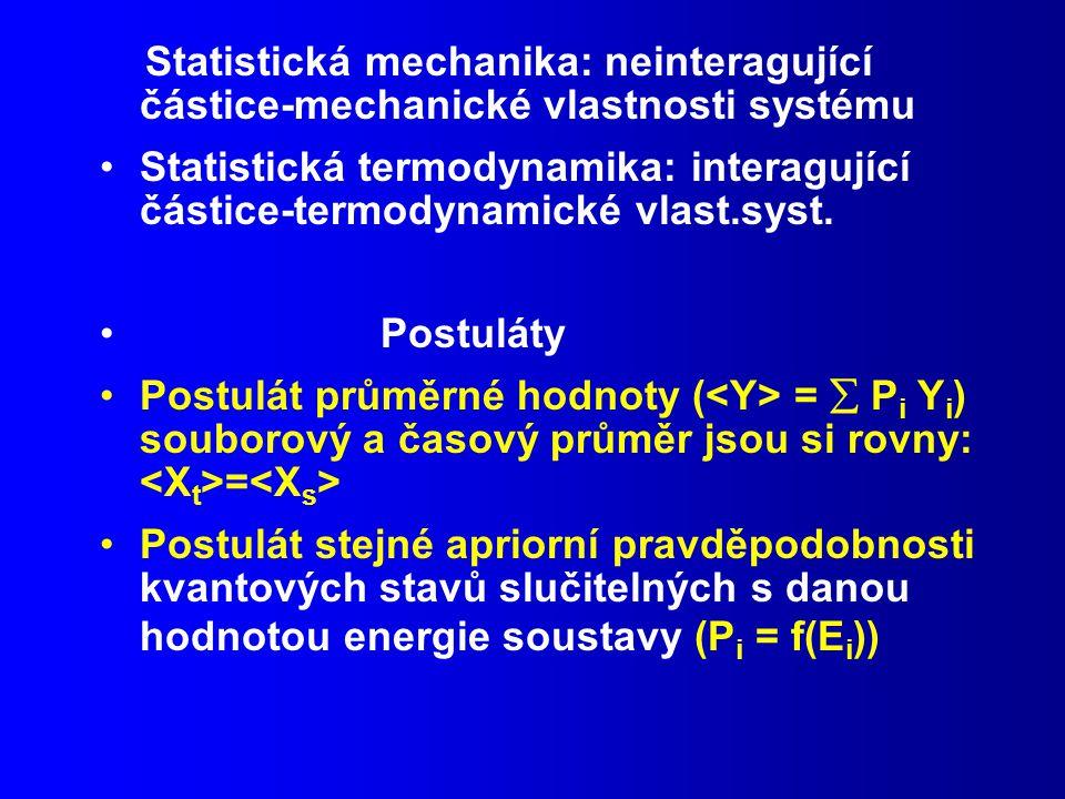 Statistická mechanika: neinteragující částice-mechanické vlastnosti systému