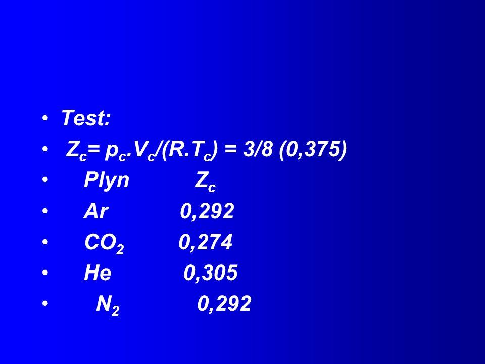 Test: Zc= pc.Vc/(R.Tc) = 3/8 (0,375) Plyn Zc. Ar 0,292. CO2 0,274. He 0,305.