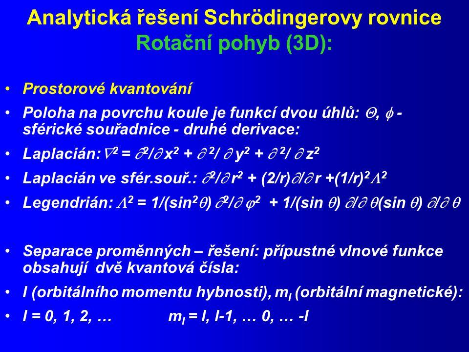 Analytická řešení Schrödingerovy rovnice Rotační pohyb (3D):
