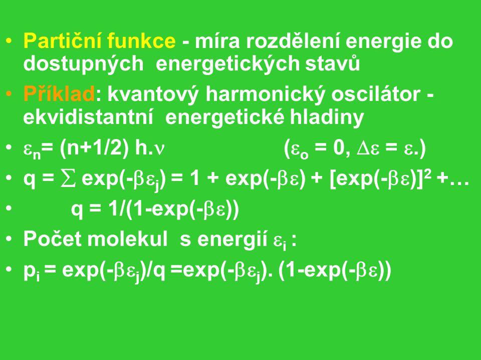 Partiční funkce - míra rozdělení energie do dostupných energetických stavů