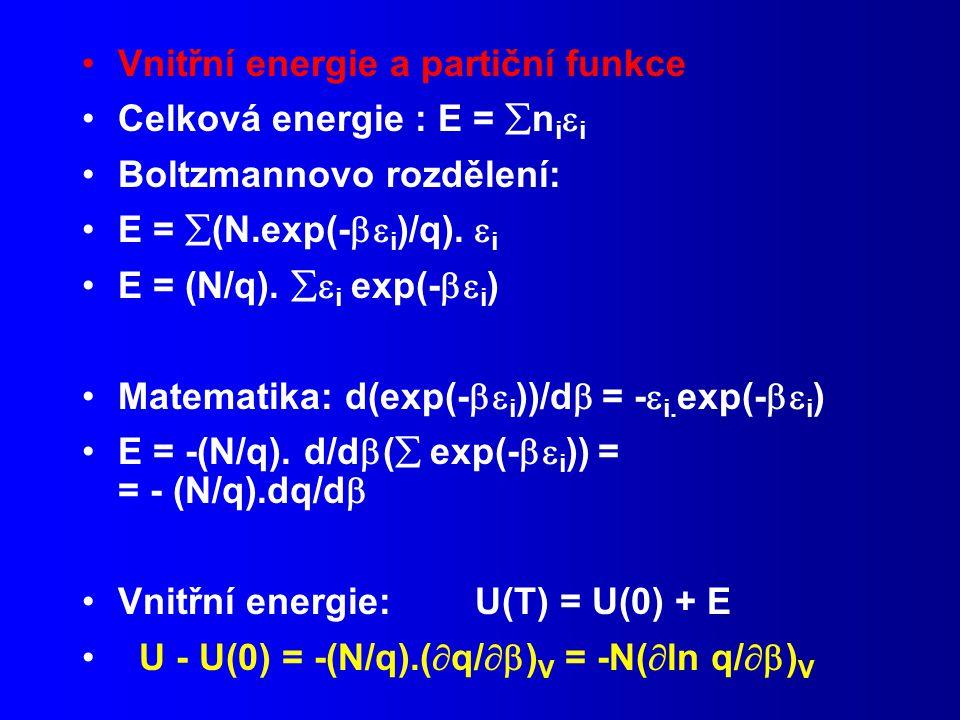 Vnitřní energie a partiční funkce