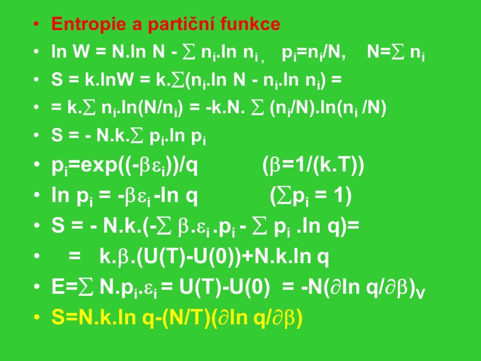 pi=exp((-i))/q (=1/(k.T)) ln pi = -i -ln q (pi = 1)