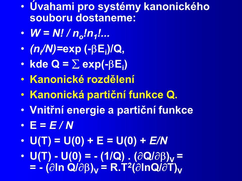 Úvahami pro systémy kanonického souboru dostaneme: