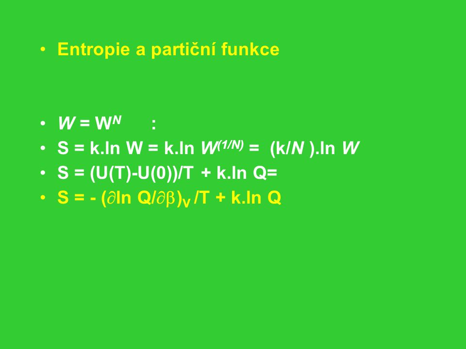 Entropie a partiční funkce