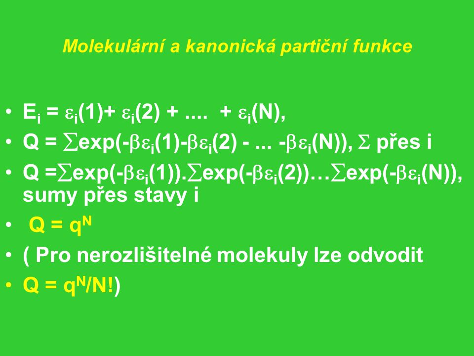 Molekulární a kanonická partiční funkce