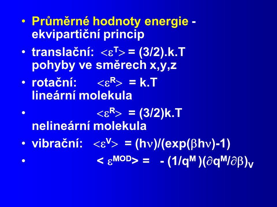 Průměrné hodnoty energie - ekvipartiční princip