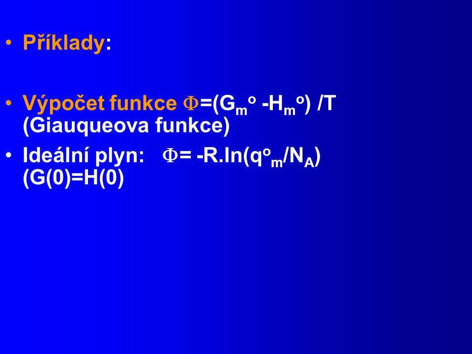 Příklady: Výpočet funkce =(Gmo -Hmo) /T (Giauqueova funkce) Ideální plyn: = -R.ln(qom/NA) (G(0)=H(0)