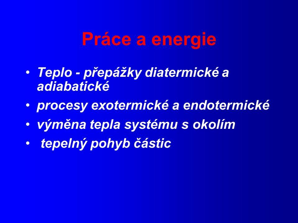 Práce a energie Teplo - přepážky diatermické a adiabatické
