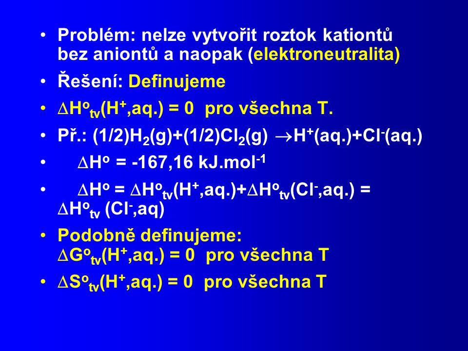 Problém: nelze vytvořit roztok kationtů bez aniontů a naopak (elektroneutralita)