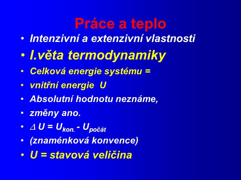 Práce a teplo I.věta termodynamiky Intenzivní a extenzivní vlastnosti