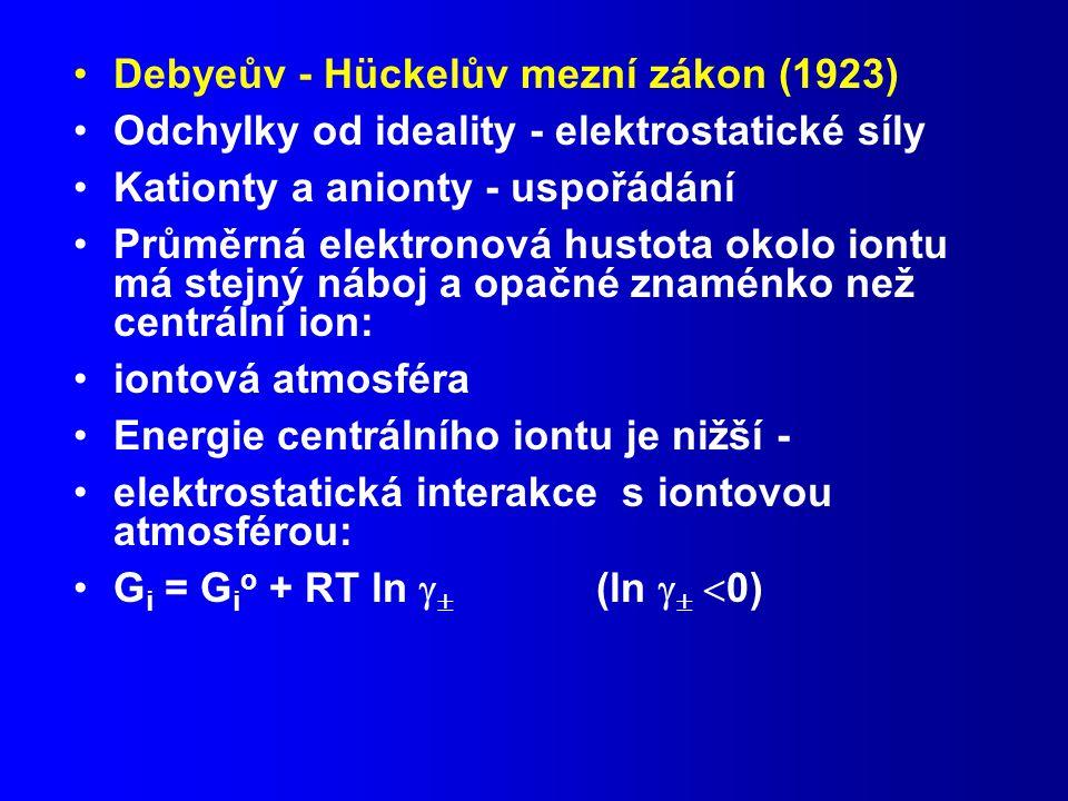 Debyeův - Hückelův mezní zákon (1923)