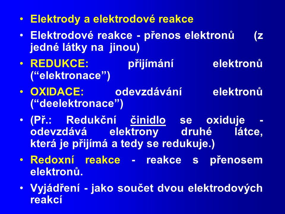Elektrody a elektrodové reakce