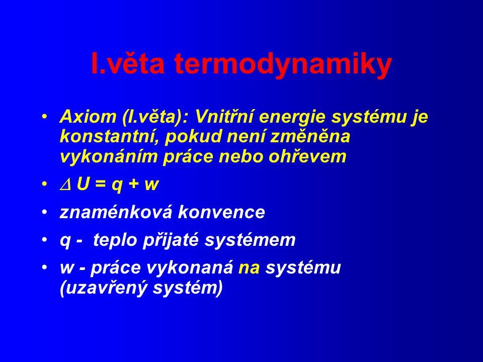 I.věta termodynamiky Axiom (I.věta): Vnitřní energie systému je konstantní, pokud není změněna vykonáním práce nebo ohřevem.