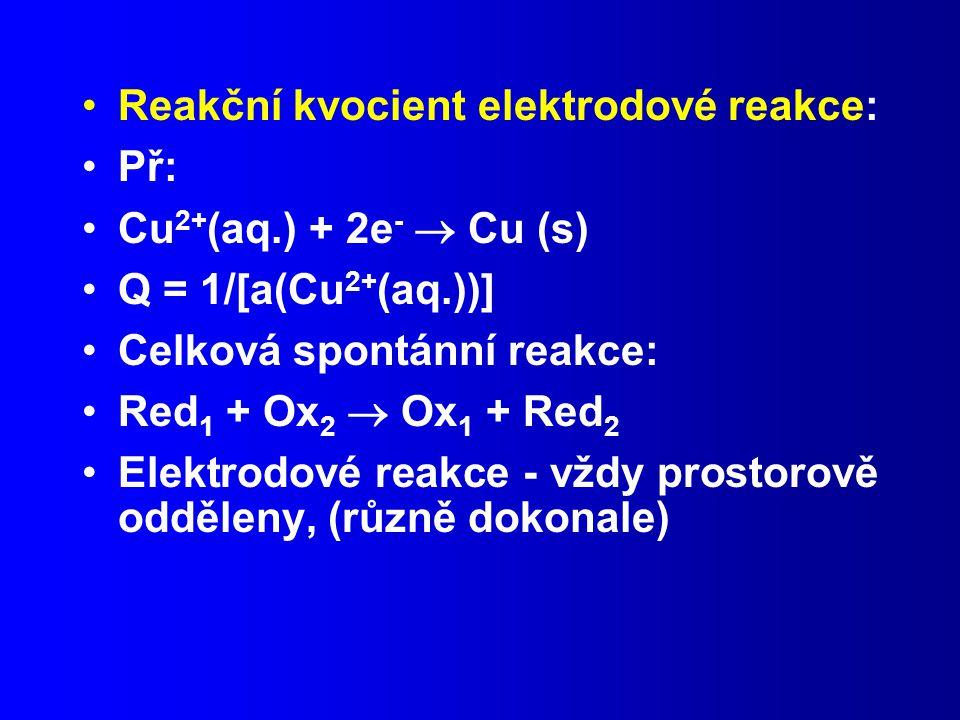 Reakční kvocient elektrodové reakce: