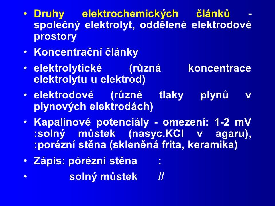 Druhy elektrochemických článků - společný elektrolyt, oddělené elektrodové prostory