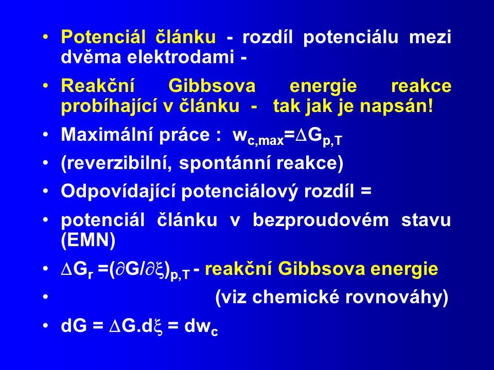Potenciál článku - rozdíl potenciálu mezi dvěma elektrodami -