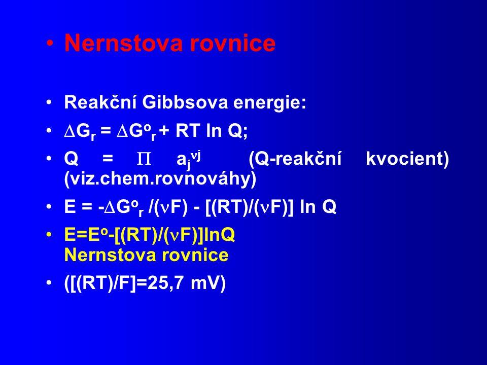 Nernstova rovnice Reakční Gibbsova energie: Gr = Gor + RT ln Q;