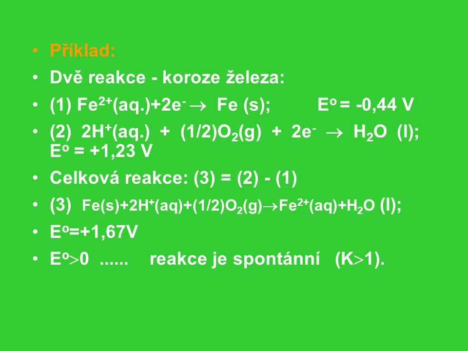 Příklad: Dvě reakce - koroze železa: (1) Fe2+(aq.)+2e-  Fe (s); Eo = -0,44 V.