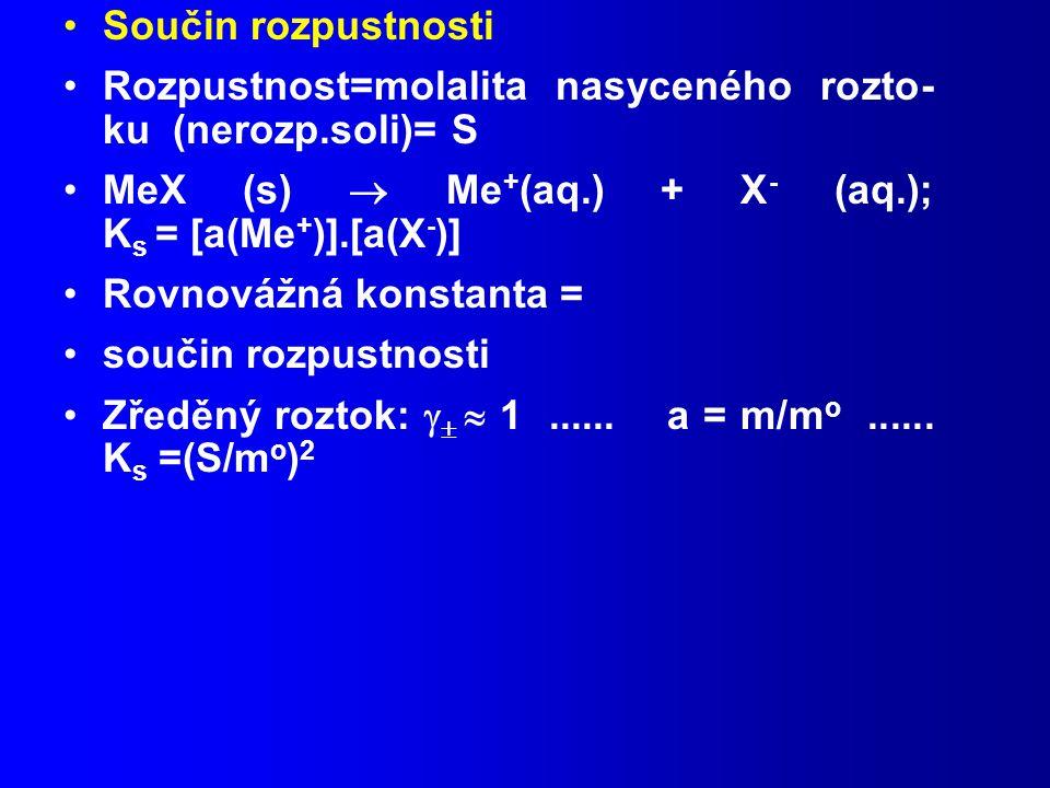 Součin rozpustnosti Rozpustnost=molalita nasyceného rozto- ku (nerozp.soli)= S.