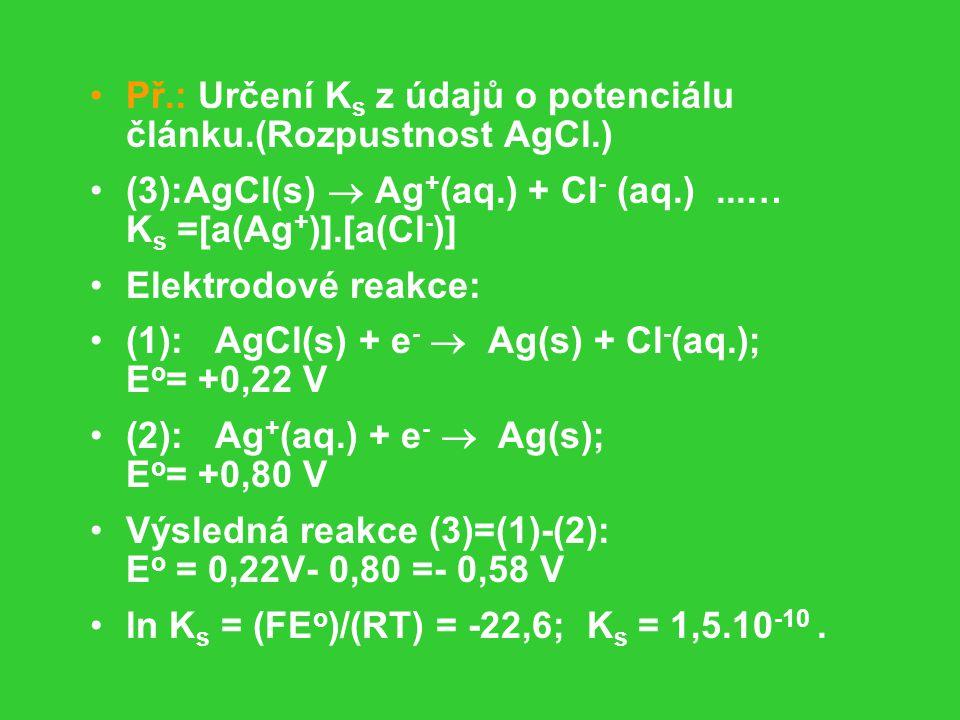 Př.: Určení Ks z údajů o potenciálu článku.(Rozpustnost AgCl.)