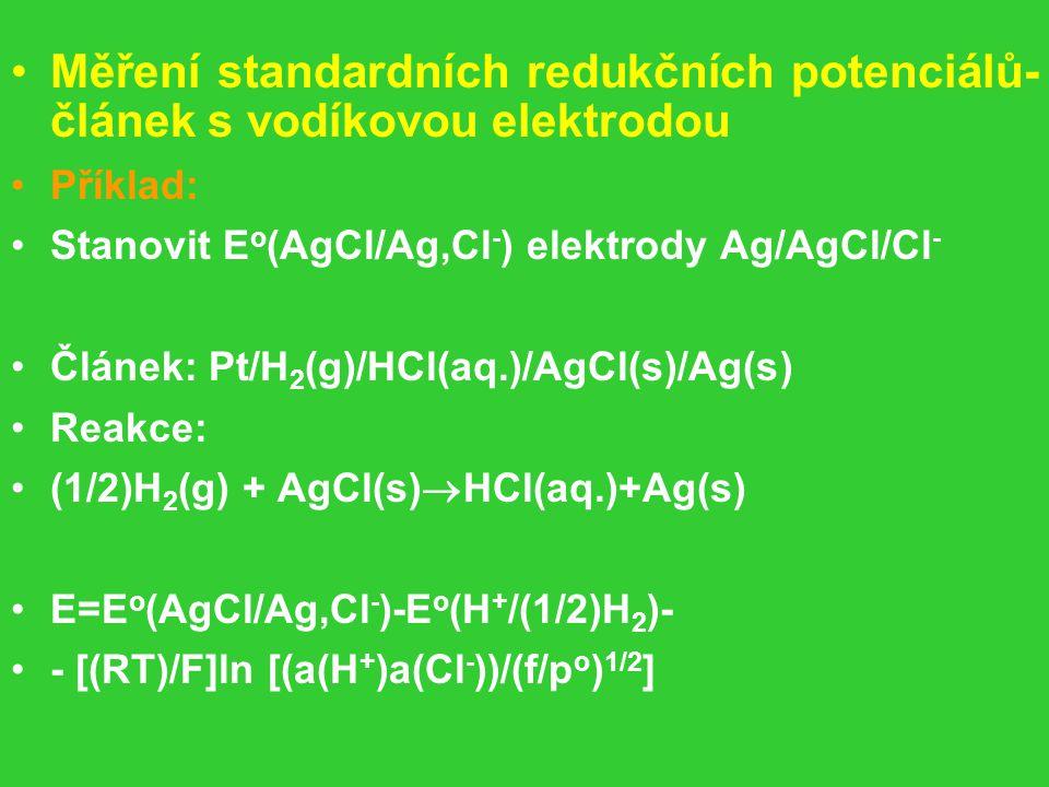 Měření standardních redukčních potenciálů- článek s vodíkovou elektrodou