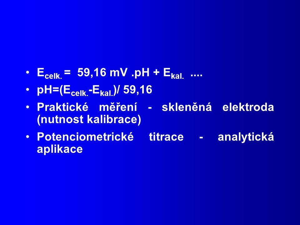 Ecelk. = 59,16 mV .pH + Ekal. .... pH=(Ecelk.-Ekal.)/ 59,16. Praktické měření - skleněná elektroda (nutnost kalibrace)