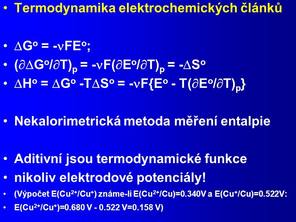 Termodynamika elektrochemických článků Go = -FEo;