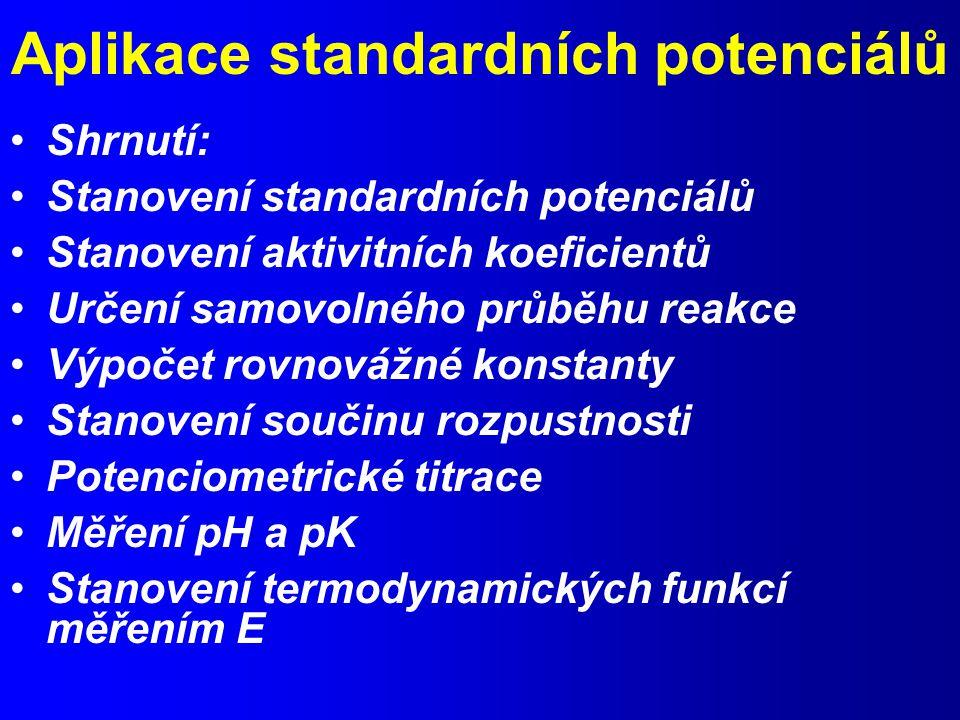 Aplikace standardních potenciálů