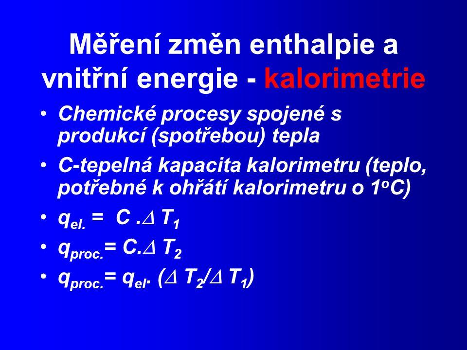 Měření změn enthalpie a vnitřní energie - kalorimetrie