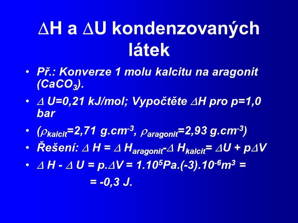 H a U kondenzovaných látek