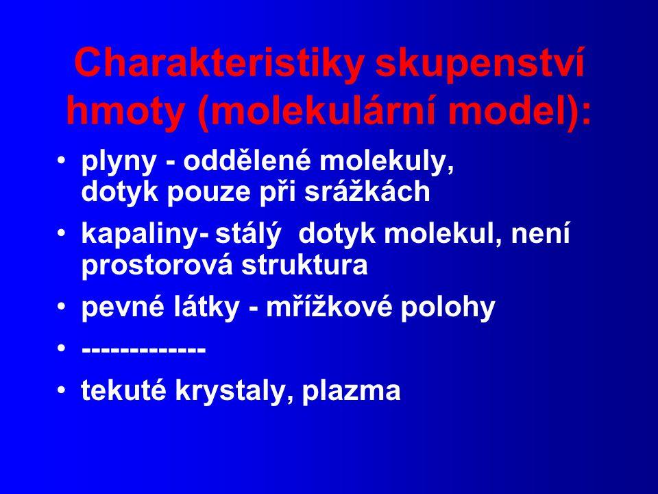 Charakteristiky skupenství hmoty (molekulární model):