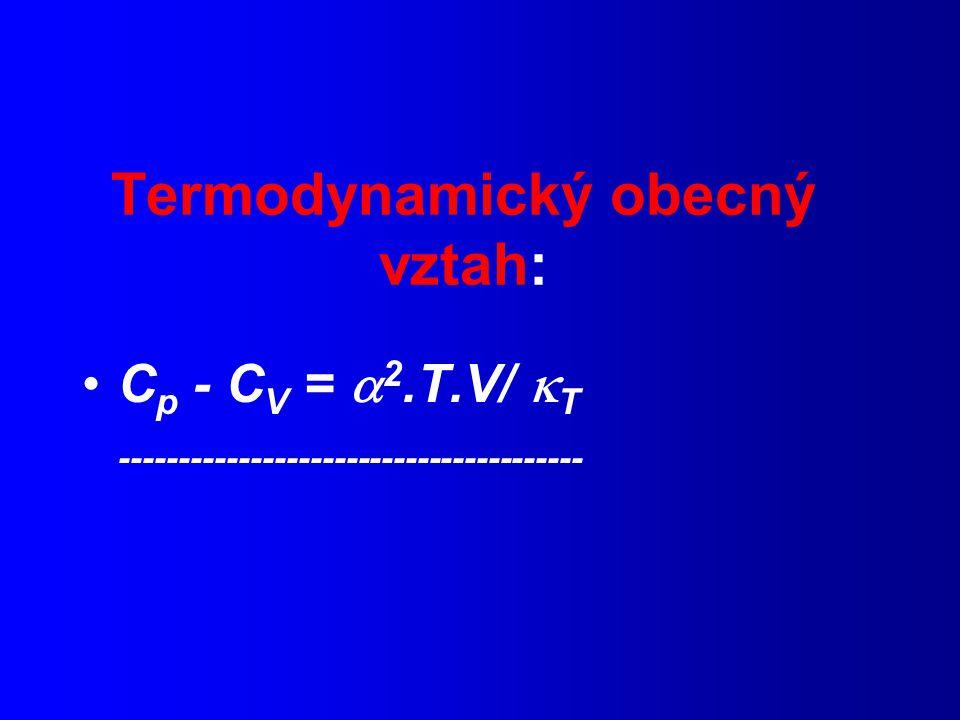 Termodynamický obecný vztah: