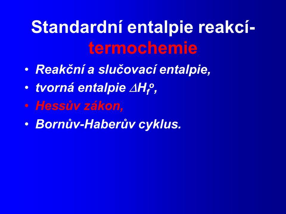 Standardní entalpie reakcí- termochemie