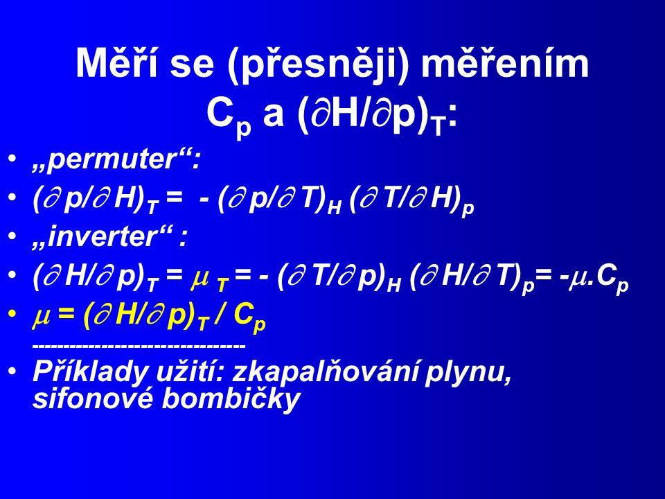 Měří se (přesněji) měřením Cp a (H/p)T: